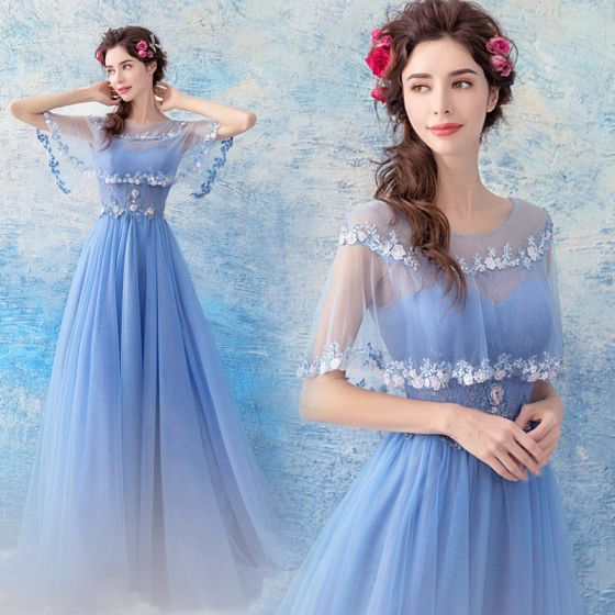 Chic / Beautiful Sky Blue Evening Dresses  2017 A-Line / Princess Tulle U-Neck Appliques Backless Beading Evening Party Formal Dresses