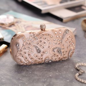 Chic / Beautiful Beige Beading Sequins Pearl Rhinestone Metal Clutch Bags 2018