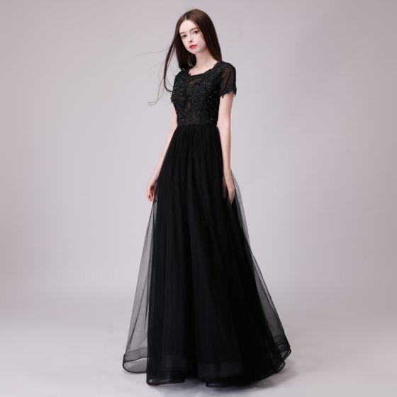 Chic / Beautiful Black Evening Dresses  2018 A-Line / Princess Lace Appliques Sequins Scoop Neck Backless Short Sleeve Floor-Length / Long Formal Dresses