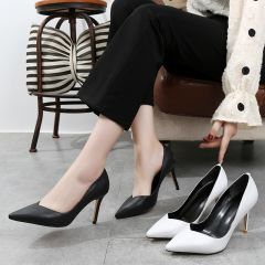 Classy Black OL Pumps 2020 Leather 8 cm Stiletto Heels Pointed Toe Pumps
