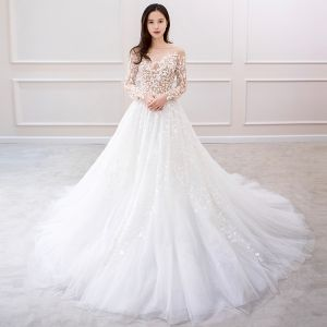Charming Ivory Wedding Dresses 2019 A-Line / Princess Long Sleeve Lace Flower Backless Chapel Train