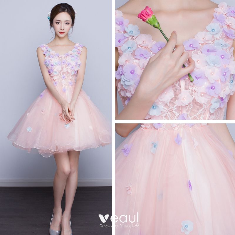 Chic / Beautiful Affordable Party Dresses Graduation Dresses 2017 Lace Flower Appliques Backless Pearl V-Neck Pearl Pink Short Ball Gown