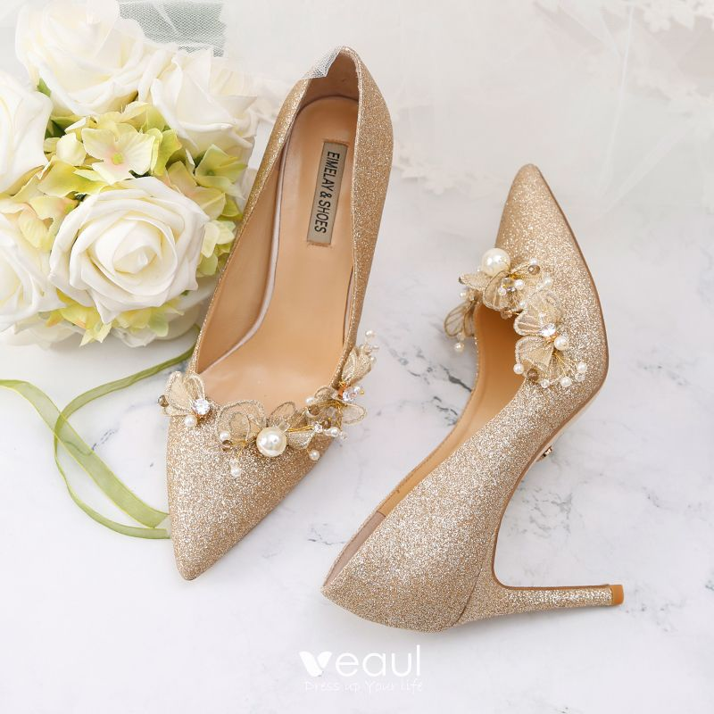 658a4969727 Sparkly Gold Wedding Shoes 2019 Leather Sequins Appliques Pearl 9 cm ...