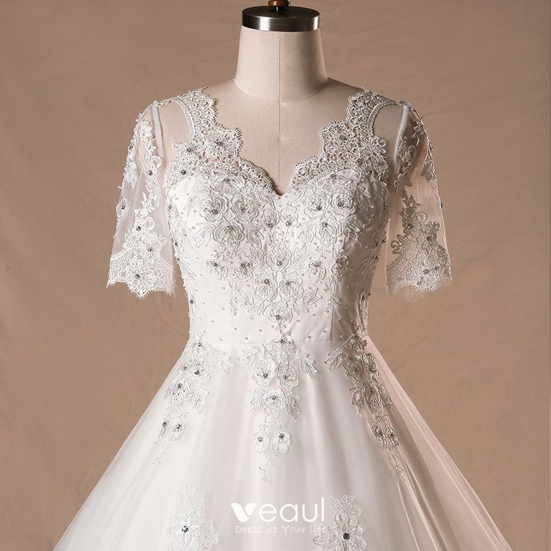 Luxury Tulle Three Quarter Sleeve A Line Wedding Dress: Luxury / Gorgeous Ivory 2018 Wedding A-Line / Princess V