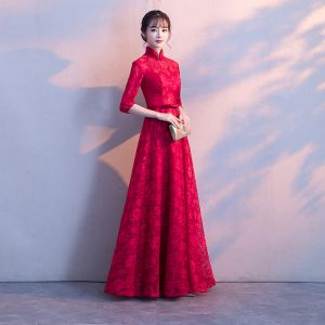 Chic / Beautiful Burgundy Evening Dresses  2017 A-Line / Princess Lace Bow High Neck 1/2 Sleeves Floor-Length / Long Formal Dresses