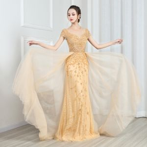High-end Gold Lace See-through Evening Dresses  2020 A-Line / Princess Scoop Neck Short Sleeve Beading Sweep Train Ruffle Formal Dresses