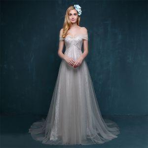 Modest / Simple Grey Evening Dresses  2017 A-Line / Princess Chapel Train Off-The-Shoulder Short Sleeve Backless Crossed Straps Lace Formal Dresses