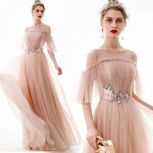 Classy Pearl Pink Evening Dresses  2020 A-Line / Princess Scoop Neck Lace Flower Appliques Crystal Short Sleeve Backless Floor-Length / Long Formal Dresses