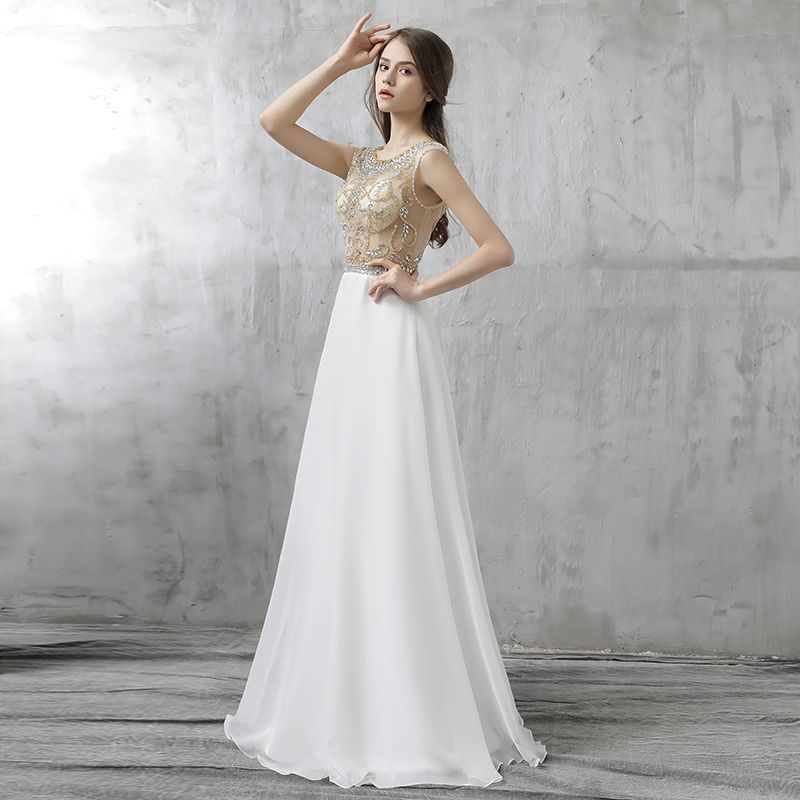 Chic / Beautiful Formal Dresses 2017 Evening Dresses  White A-Line / Princess Floor-Length / Long Scoop Neck Backless Sleeveless Beading Rhinestone