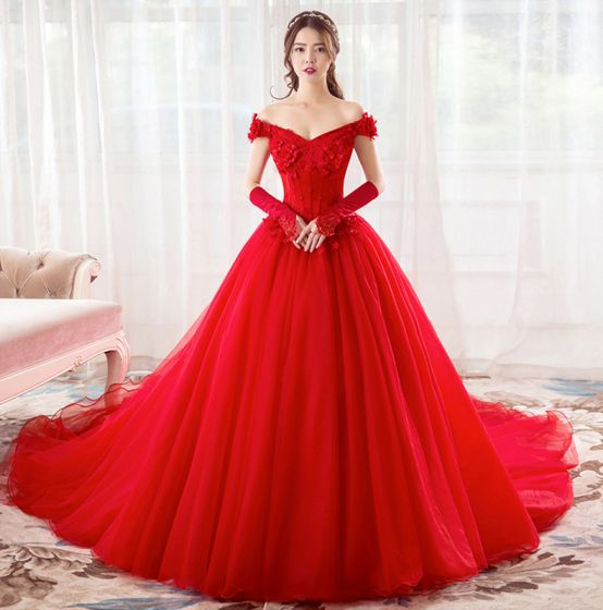 Chic / Beautiful Red Wedding Dresses 2019 A-Line / Princess Off-The-Shoulder Pearl Rhinestone Appliques Lace Flower Short Sleeve Backless Cathedral Train