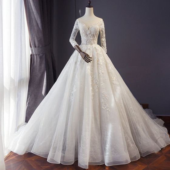 Affordable Ivory Wedding Dresses 2018 A-Line / Princess See-through Scoop Neck 3/4 Sleeve Backless Appliques Lace Pearl Beading Cathedral Train Ruffle