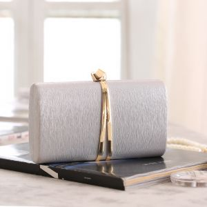 Fashion Modest / Simple Silver Clutch Bags 2020 Metal Evening Party Accessories