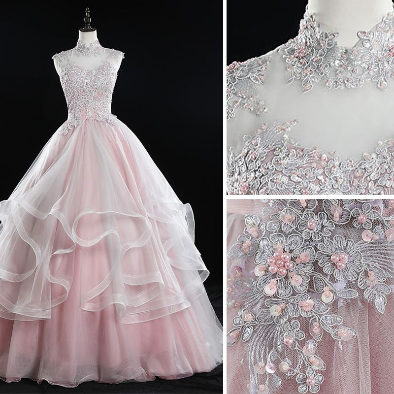 Classy Blushing Pink Prom Dresses 2019 Ball Gown High Neck Beading Sequins Pearl Lace Flower Sleeveless Backless Cascading Ruffles Floor-Length / Long Formal Dresses