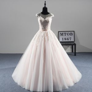 Classy Champagne See-through Wedding Dresses 2019 A-Line / Princess Scoop Neck Sleeveless Sash Appliques Lace Beading Pearl Court Train Ruffle