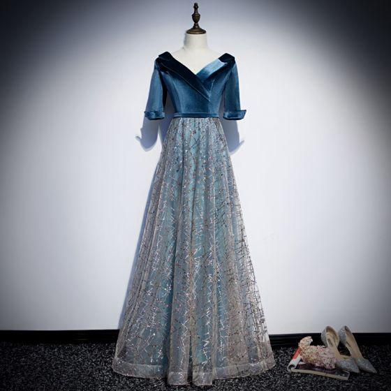 Schöne Tintenblau Abendkleider 2019 A Linie Wildleder V-Ausschnitt Glanz Pailletten Kurze Ärmel Rückenfreies Lange Festliche Kleider
