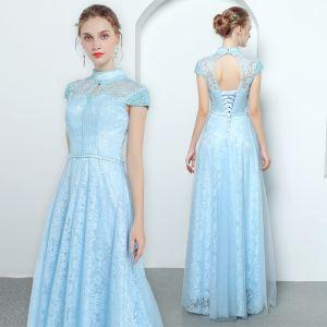 Vintage / Retro Sky Blue Evening Dresses  2019 A-Line / Princess High Neck Cap Sleeves Pearl Beading Sash Floor-Length / Long Ruffle Backless Formal Dresses