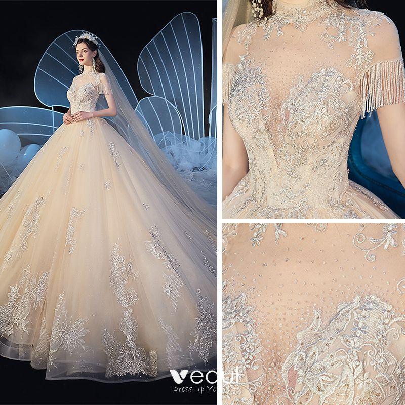 Vintage / Retro Champagne See-through Wedding Dresses 2019