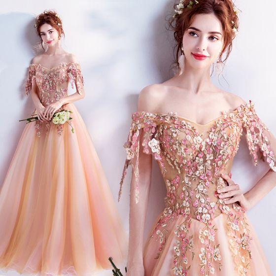 Wróżka Kwiatowa Pomarańczowy Sukienki Na Bal 2017 Bal Tiulowe Aplikacje Bez Pleców Frezowanie Haftowane Sukienki Wizytowe