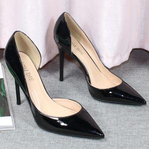 Simple Noire Bureau OL Chaussures Femmes 2020 Cuir Verni 10 cm Talons Aiguilles À Bout Pointu Talons