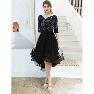 Fashion Black Cocktail Dresses 2020 A-Line / Princess V-Neck Sequins Bow 1/2 Sleeves Asymmetrical Formal Dresses
