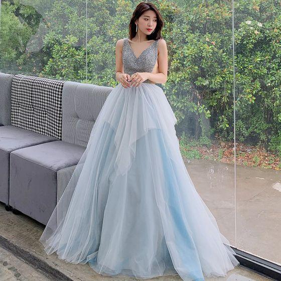 Chic / Beautiful Sky Blue Evening Dresses  2019 A-Line / Princess V-Neck Sleeveless Beading Floor-Length / Long Ruffle Backless Formal Dresses