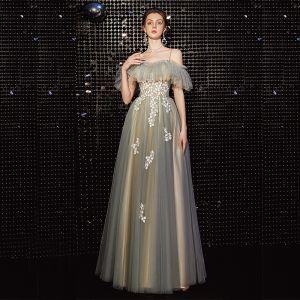 Élégant Gris Vert Robe De Bal 2020 Princesse Bretelles Spaghetti Manches Courtes Appliques En Dentelle Perlage Longue Volants Dos Nu Robe De Ceremonie