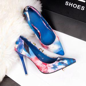 Chic / Belle Océan Bleu Vêtement de rue Impression Escarpins 2020 9 cm Talons Aiguilles À Bout Pointu Escarpins