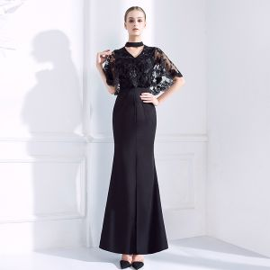 Chic / Beautiful Black Evening Dresses  2018 Trumpet / Mermaid V-Neck Lace 1/2 Sleeves Ankle Length Formal Dresses