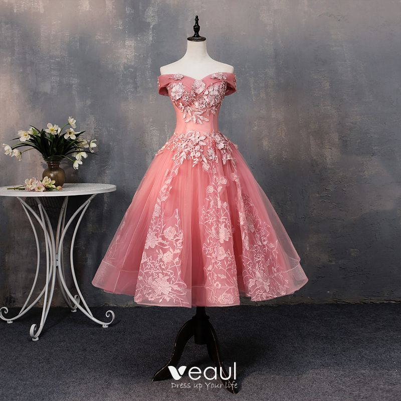 fe6e2290b9864 Chic / Beautiful Watermelon Prom Dresses 2019 A-Line / Princess ...