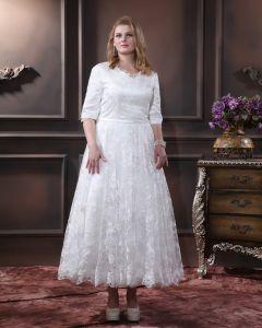 Spitze Mit V-ausschnitt In Übergröße Hochzeitskleid Brautkleider