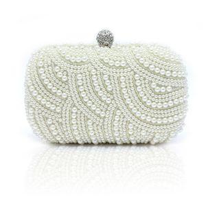Luksusowe Białe Kopertówki Frezowanie Perła Rhinestone Wykonany Ręcznie Ślub Koktajlowe Wieczorowe Bal Akcesoria 2019