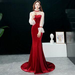 Chic / Beautiful Burgundy Evening Dresses  2019 Trumpet / Mermaid High Neck Rhinestone Bell sleeves Sweep Train Formal Dresses