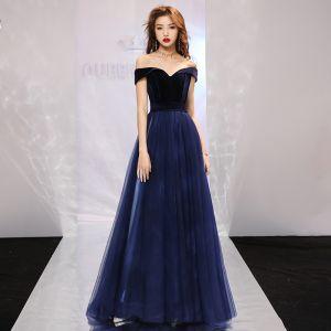 Eleganckie Granatowe Sukienki Na Bal 2019 Princessa Przy Ramieniu Kótkie Rękawy Trenem Sąd Wzburzyć Bez Pleców Sukienki Wizytowe