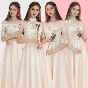 Elegant Champagne Satin See-through Bridesmaid Dresses 2019 A-Line / Princess Appliques Embroidered Bow Sash Floor-Length / Long Ruffle Backless Wedding Party Dresses