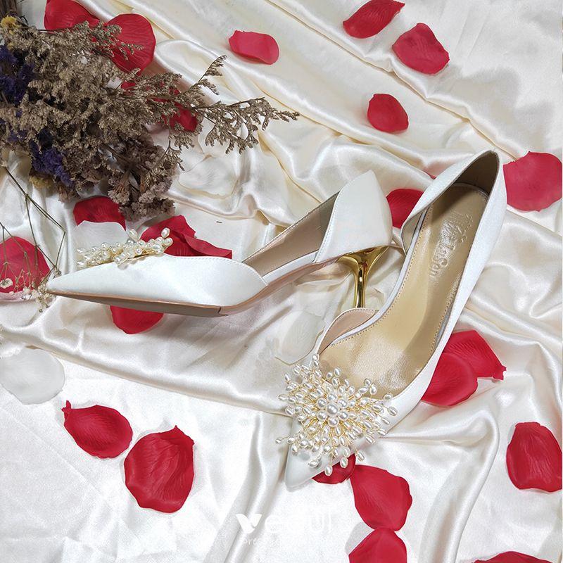 Modern / Fashion White Wedding Bridesmaid Pumps 2020 Leather Pearl 8 cm Stiletto Heels Pointed Toe Wedding Shoes