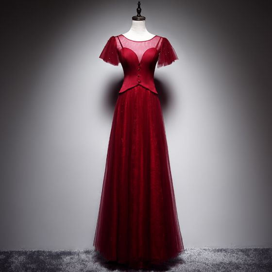 Piękne Burgund Sukienki Wieczorowe 2019 Princessa Wycięciem Kótkie Rękawy Bez Pleców Długie Sukienki Wizytowe