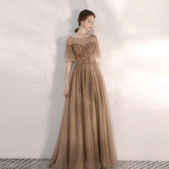 Elegant Brown Evening Dresses  2020 A-Line / Princess Scoop Neck Rhinestone Sequins Short Sleeve Backless Floor-Length / Long Formal Dresses