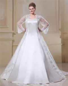 806f1721392a Satin Spets Garn Kvadratisk Hals Domstol Plus Size Brudklänningar  Bröllopsklänningar