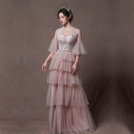 Modern / Fashion Pearl Pink See-through Evening Dresses  2019 A-Line / Princess Scoop Neck Bell sleeves Appliques Lace Beading Floor-Length / Long Cascading Ruffles Backless Formal Dresses
