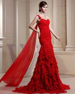 Fashion Chiffon Charmeuse Silk Pleated Ruffle Beaded One Shoulder Court Train Sleeveless Women Evening Dress