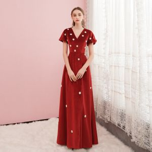 Best Red Velour Evening Dresses  2020 A-Line / Princess V-Neck Puffy Short Sleeve Beading Pearl Floor-Length / Long Formal Dresses
