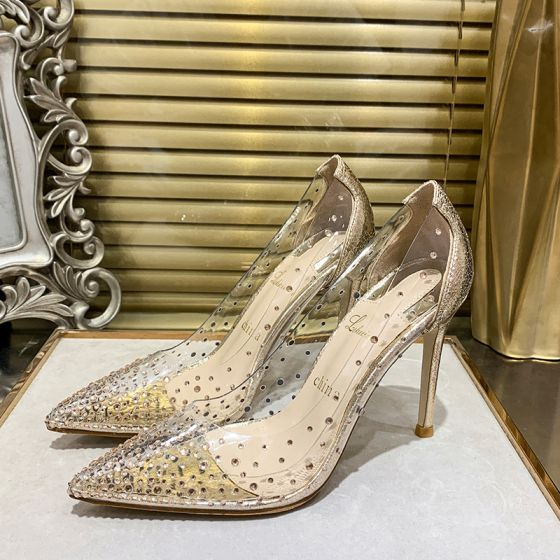 Sexy Gold Evening Party Rhinestone Pumps 2020 Sequins 10 cm Stiletto Heels Pointed Toe Pumps