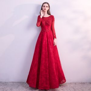 Chic / Beautiful Red Prom Dresses 2018 A-Line / Princess Lace Flower Beading Crystal Sequins Scoop Neck Backless Long Sleeve Ankle Length Formal Dresses