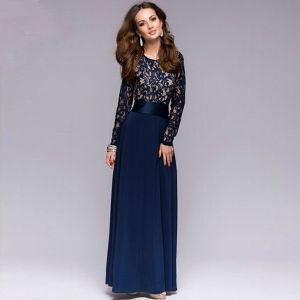 Elegant Navy Blue Chiffon Maxi Dresses 2018 Scoop Neck Long Sleeve Sash Floor-Length / Long Ruffle Womens Clothing