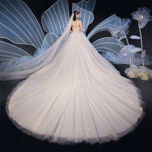 Schöne Champagner Brautkleider / Hochzeitskleider 2019 Ballkleid Herz-Ausschnitt Ärmellos Rückenfreies Glanz Tülle Perlenstickerei Kathedrale Schleppe Rüschen