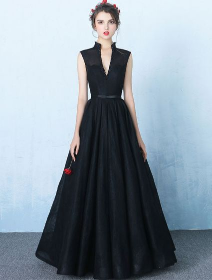 Elegant V-neck Evening Dress Black Backless Long Prom Dress 2017