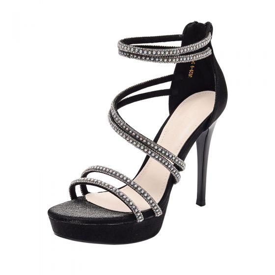 Sexy Black Evening Party Rhinestone Womens Sandals 2021 Ankle Strap 12 cm Stiletto Heels Open / Peep Toe Sandals High Heels