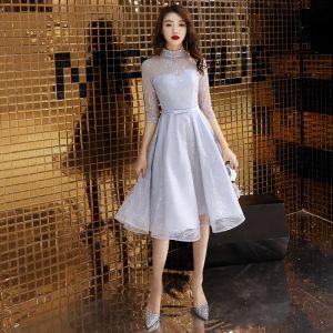 Elegant Grey Homecoming Graduation Dresses 2019 A-Line / Princess High Neck Sequins Lace Flower Bow 3/4 Sleeve Knee-Length Formal Dresses