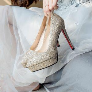 Moderne / Mode Doré Chaussure De Mariée 2019 Paillettes 12 cm Talons Aiguilles À Bout Pointu Mariage Escarpins