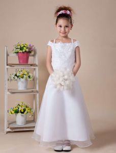 White Satin Organza Flower Girl Dress